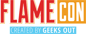 """Logo reading """"Flame Con created by Geeks OUT"""""""